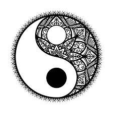 Gestileerde Yin En Yang Tao Mandala Symbolmulticolored Round