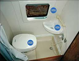 interior view of combo shower and toilet in a sportsmobile conversion van
