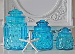 appealing glass canisters for kitchenware ideas clear blue glass canisters for pretty kitchenware ideas