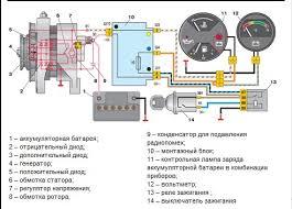 Контрольная лампа зарядки аккумулятора бортжурнал Лада  Схема включения генератора 2105