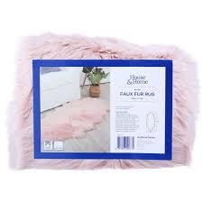 house home faux fur rug blush
