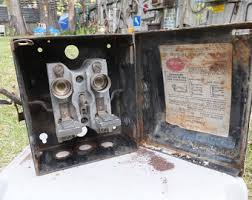 vintage fuse box rusty chippy old electrical fuse box