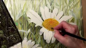 how to paint the center of a realistic white daisy in watercolor lesson