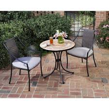 home styles terra cotta 3 piece tile top patio bistro set with taupe cushions