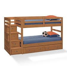 Bedroom: Wooden Full Bunk Beds With Stairs And Storage - Bunk Beds ...