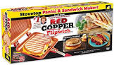 BulbHead Red Copper Flipwich Non-Stick Grilled Sandwich and Panini Maker by BulbHead (11850)