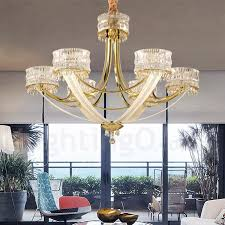 modern contemporary 6 light steel chandelier with crystal shade for living room bedroom