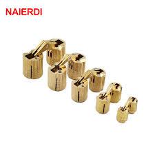 NAIERDI 4PCS 8mm Copper Barrel Hinges Cylindrical Hidden Cabinet