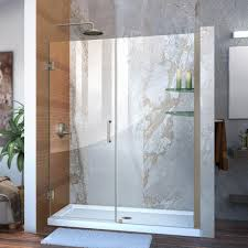 dreamline unidoor 58 to 59 in x 72 in frameless hinged shower door in