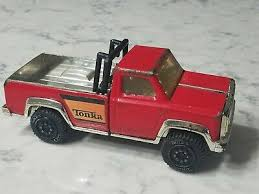 VINTAGE 1970S METAL Red Tonka Pickup Truck Roll Bar Mirrored Bed ...