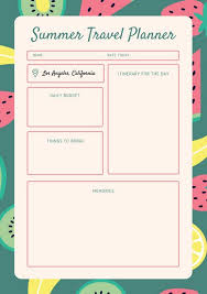 trip planner templates coral fruit pattern travel itinerary planner templates by canva