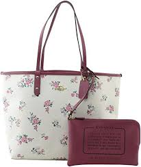COACH REVERSIBLE CITY TOTE WITH CROSS STITCH FLORAL, F25860, CHALK