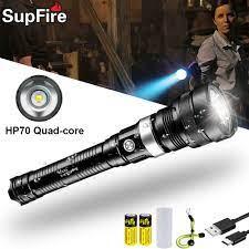 Đèn Pin Supfire LED Cao Cấp Chói Quân Sự Chiến Thuật Đèn Pin Cảnh Sát Tự Vệ  Đèn Pha Tìm Kiếm Sạc Cắm Trại Đèn Pin Đèn Pin LED