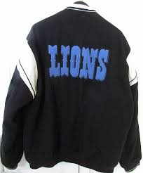 available today is an nfl detroit lions team issued wool and leather like faux leather jacket jacket was owned by a coach for the lions in 2008 and was