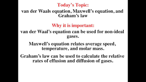 van der waals equation maxwell s equation and graham s law