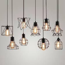 vintage industrial metal cage pendant light hanging lamp edison bulb black wire cage pendant light lighting