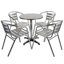 marko outdoor garden furniture aluminium 4 armchair table 60cm round bistro set