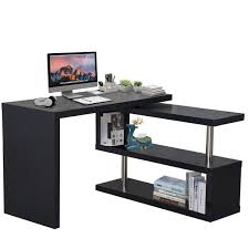 homcom 75 corner rotating l shaped computer desk shelf combo black aosom com