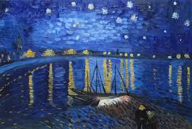 starry night over the rhone van gogh replica oil painting landscape river france post impressionism 24 x 36 inches with frame
