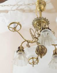 american late victorian six arm gas and electric combination chandelier for