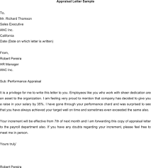 appraisal letter download sample appraisal letters for free formtemplate