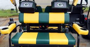 customized green bay packers seats with cup holders on starev 48v ss limited golf cart in sun city center fl
