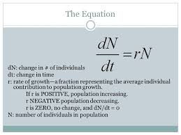 the equation dn change in of individuals dt change in time