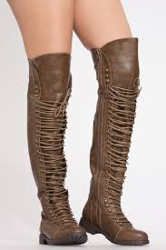 dark brown leather thigh high combat boots