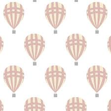 Luchtballon Behang Babykamer Roze Pastel Patroonbehang