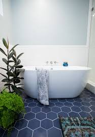 bathroom floor tile hexagon. Navy Hex Tiles With White Grout Give A Seaside Look To The Bathroom Floor Tile Hexagon