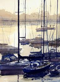 coffs harbor sailing boats at sunrise watercolor painting golden colors sparkle on water with