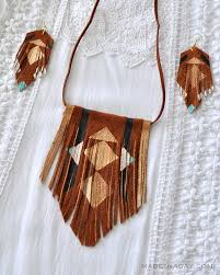 boho painted suede leather fringe necklace earrings madeinaday com