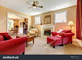 Living Room With Red Furniture Beautiful Peach Red Living Room Interior Stock Photo 108401270