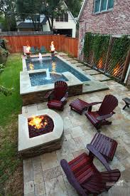 Narrow Backyard Pool With Firepit