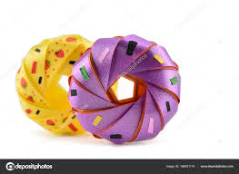 Coin Folding With Ribbon Is Shaped A Colorful Donut Isolated