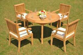 wood round patio dining table 48