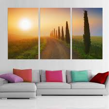 Living Room Canvas Paintings Modern Printed Canvas Painting Tree Oil Picture Sunset Landscape