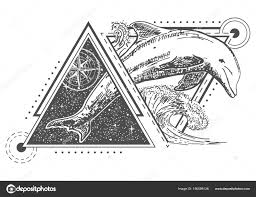 вектор творческого геометрические океана дельфин татуировка