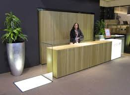 wooden desk ideas. Interior Torquois Leather Benches On Wooden Stand Minimalist Office Reception Green Sofa Black Wood Desk Beige With Ideas