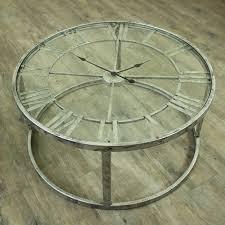 large round silver skeleton clock table