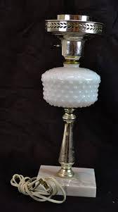 vintage milk glass hobnail metal desk table lamp on