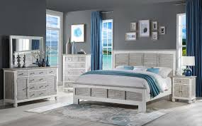 Two Tone White/Gray Queen/King 4pc Bedroom Set