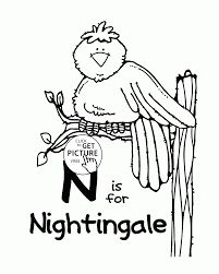 nightingale animal coloring pages letter n alphabet for kids words printables free