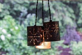 pendant light trio turned on tin can
