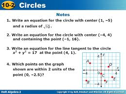 write an equation for the circle with center 1 5