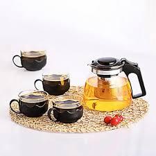 senarai harga new teaware 5pcs set glass teapot cups borosilicate glass set cup flowers tea