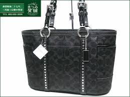 (unused article) coach signature stud bolt Lurex Thoth black tote bag  F12853 COACH  F12853-black fs3gm