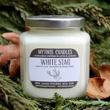 Pine Cone Candles Limited Edition Mythos Candles White Stag 8oz Strong Scented