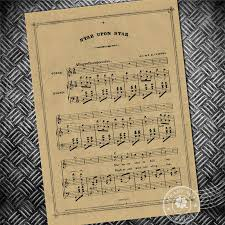 Music Paper Print Vintage Poster Musical Note Stave Retro Paper Print Picture