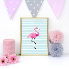 flamingo poster nursery wall decor flamingo print baby print poster nursery print